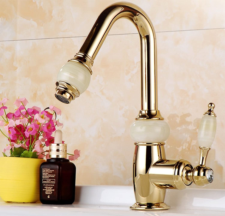 golden Basin hot and Cold Faucet, Ceramic Valve core, Bathroom high-Grade Retro Retractable Faucet