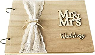 NUOBESTY Wedding Guest Book 30 Pages Retro Wooden Guest Book Diy Guest Sign-In Book Message Book Guestbook Gift For Engage...