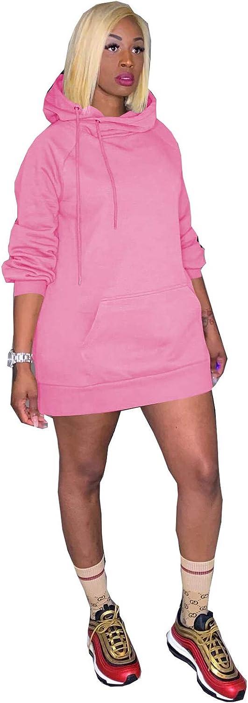 Akk Women Hoodies Dress Long Sleeve Hooded Tunic Sweatshirt Pockets Bodycon Mini Sweater Dress