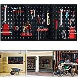 Aufun Placa perforada para herramientas, 3 piezas, de metal, con 17 ganchos, 120 x 60 x 2 cm, para taller, color negro y rojo