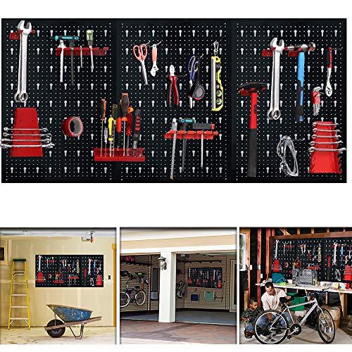 Aufun Lochblech Werkzeugwand, Dreiteilig Werkzeuglochwand aus Metall mit 17 teilge Hakenset 120 x 60 x 2 cm für Werkstatt Schwarz und Rot
