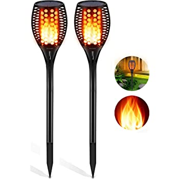 2 x BLACK SOLAR DANCING FLAME LED TORCH STAKE FLICKERING LIGHTS OUTDOOR GARDEN