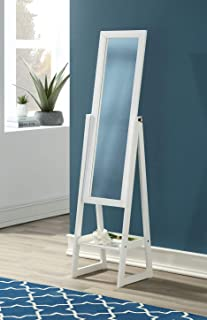 eHomeProducts Solid Wood Cheval Floor Standing Tilting Mirror with Bottom Shelf, White Finish