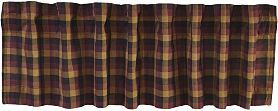 VHC Brands Primitive Kitchen Window Curtains-Heritage Farms Valance, 16x60, Deep Burgundy Red
