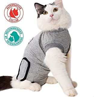 FOREYY Professional Cat Recovery Suit for Abdominal Wounds and Skin Diseases, Breathable E-Collar Alternative for Cats and Dogs, After Surgey Wear, Recommended by Vets