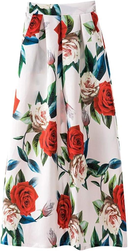 Sayhi Ladies Printed Casual Skirt Retro Big Swing Skirt Spring and Summer Long Skirt for Women Maxi