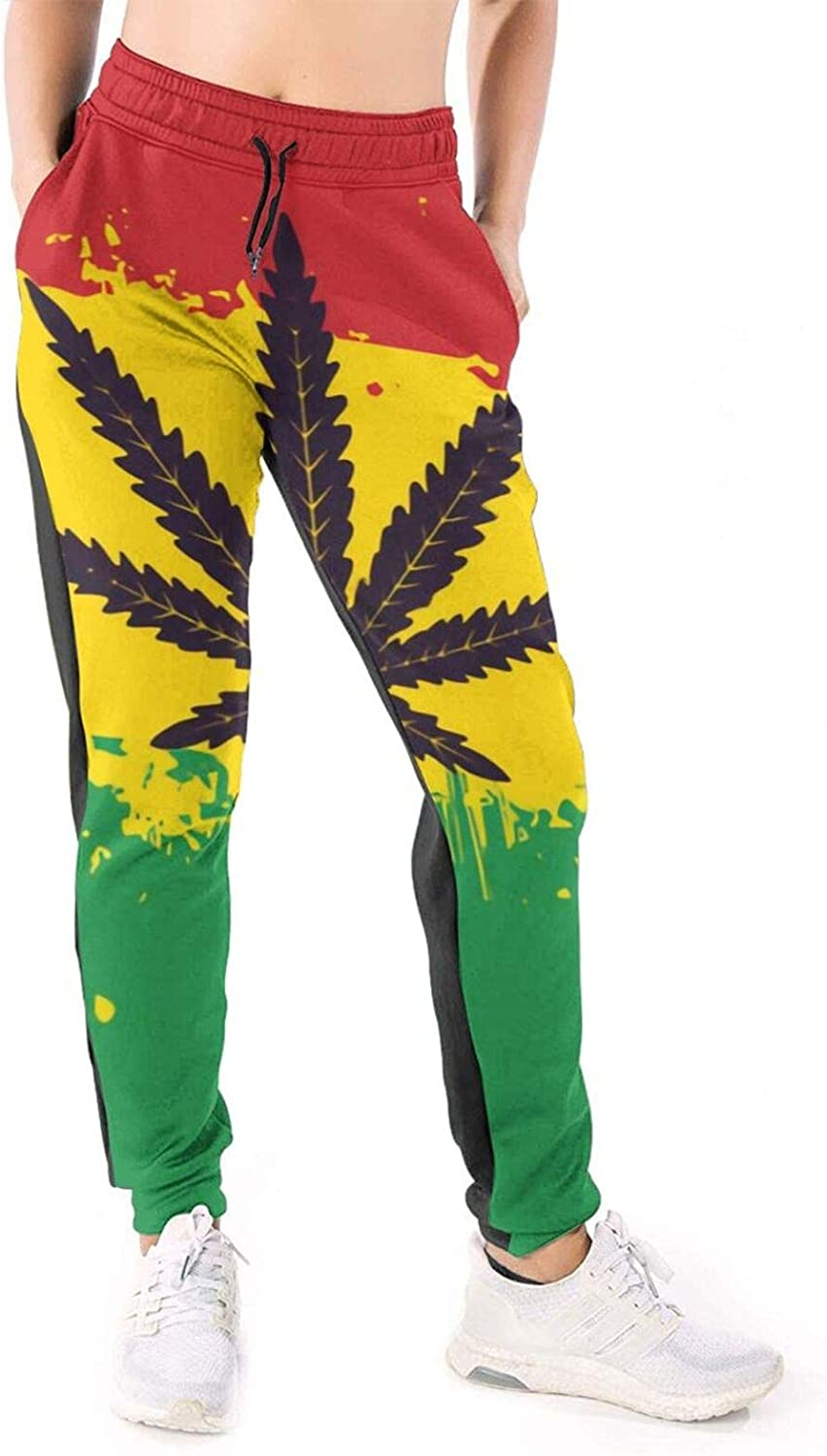 LONEA Women Joggers Pants Rasta Flag with Marijuana Cannabis Athletic Sweatpants with Pockets Casual Trousers Baggy