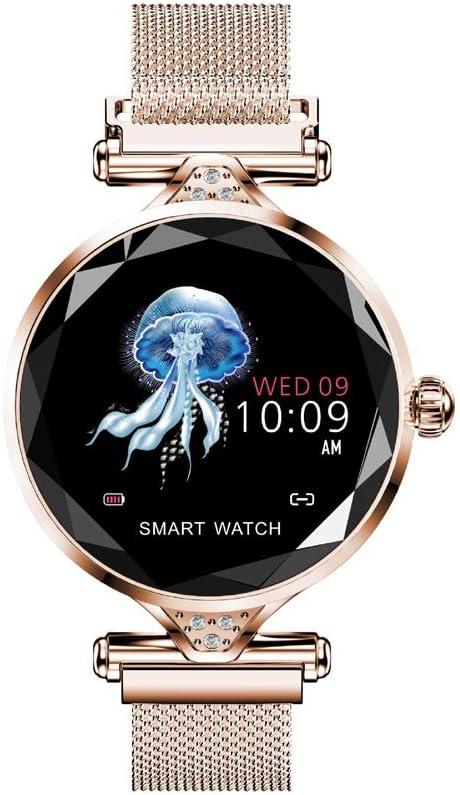 Greneric Reloj de pulsera para mujer, con frecuencia cardíaca, presión arterial, podómetro, consumo de calorías, diamante joyas, diseño elegante, IOS8.0 y superior (dorado)