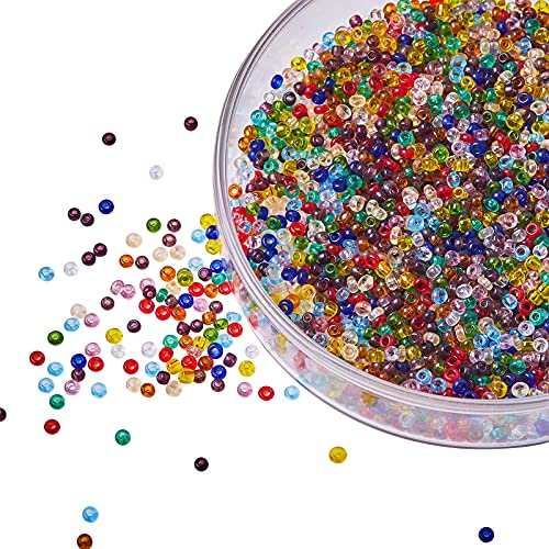 LiQunSweet 12/0 3000pcs/bag Transparent Glass Seed Beads Tiny Pony Loose Beads Grade A Round Mixed Color for Jewellery Making DIY Accessories