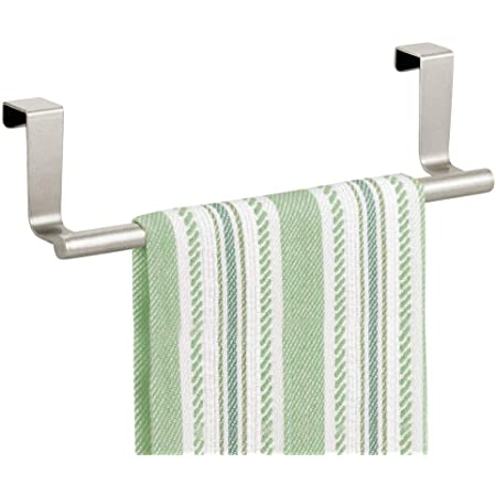 mDesign Decorative Metal Kitchen Over Cabinet Towel Bar - Hang on Inside or Outside of Doors, Storage and Display Rack for Hand, Dish, and Tea Towels - Satin