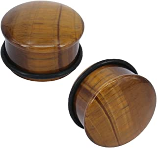 ZS Tiger Eye Natural Stone Brown Ear Plugs Single Flare Ear Gauges Expander with O-Ring Body Piercing