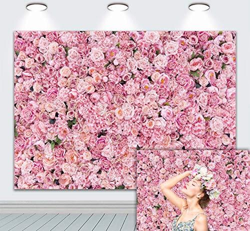Fondo de flores rosas rosas para pared de fotos, fondo para niñas, fiesta de cumpleaños, baby shower, boda, día de San Valentín, aniversario, suministros de decoración de 7 x 5 pies
