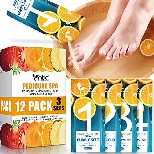Foot Pedicure Spa Set,12 Pack Foot Soak Home with Bath Salt , Moisturizing Foot Cream Lotion, Foot Care for Dead Skin , Dry Cracked , Tired Feet , Muscle Relief Make Baby Soft Feet