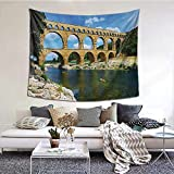 Landscape Throw Tapestry, Ancient Roman Heritage Wall Southern France Architectural Historical Landmark Wall Decor Art for Living Room, 90'x60' Blue Green Tan