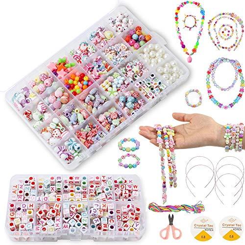 BoFeite - Bricolaje Conjunto de Cuentas, 1200PCS 24 Clases DIY Pulseras Kit Abalorios Kits para hacer bisutería Pulseras Collares de Joyas Y Cuentas para la Fabricación de Joyas para Niños