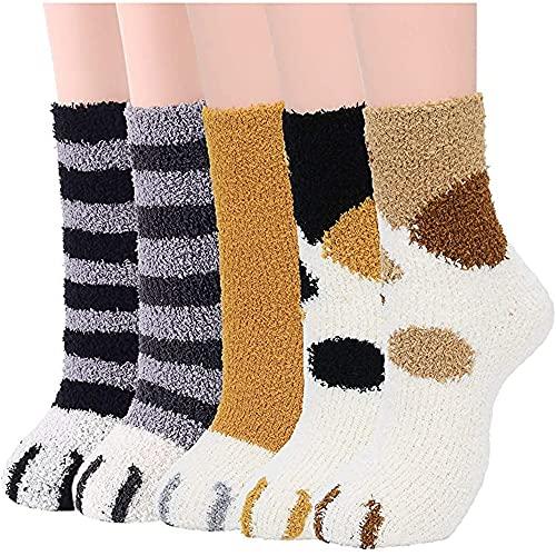 Bestmaple 5 pares de meias felpudas com garras de gato fofas e aconchegantes de inverno grossas e quentinhas meias para mulheres