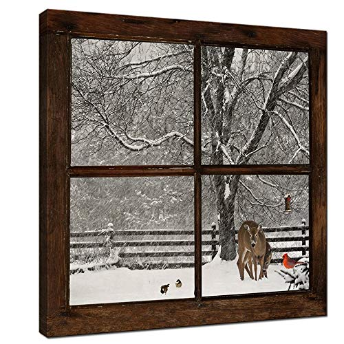 sechars - Canvas Prints Wall Art,Glimpse into Deer and Cardinal in Snowstorm out of Grunge Window,Winter Landscape Painting Modern Wall Decor,Framed Artwork Ready to Hang - 24'x24'