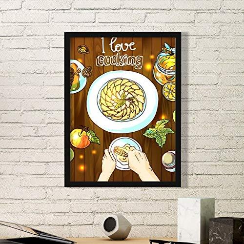 DIYthinker Ik hou van koken Beaten Eieren Honing Eenvoudige foto Frame Kunst Prints Schilderijen Thuis Muursticker Gift