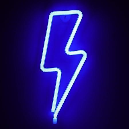ZWOOS Neonlicht für Schlafzimmer - LED Leuchtschilder angetrieben von Batterie oder USB - Neonschild für Wand - Leuchtreklame für Party, Bar - Modernes Blau (Blitz)