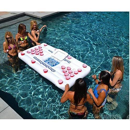 Sommer Neue 28-Loch-Bier Trinken Tasse Loch schwimmende Reihe Aufblasbare Spielzeuge, Erwachsene Tischtennisplatte Schwebebett Liege Spiel Float Pad - 185 * 85 * 20CM A