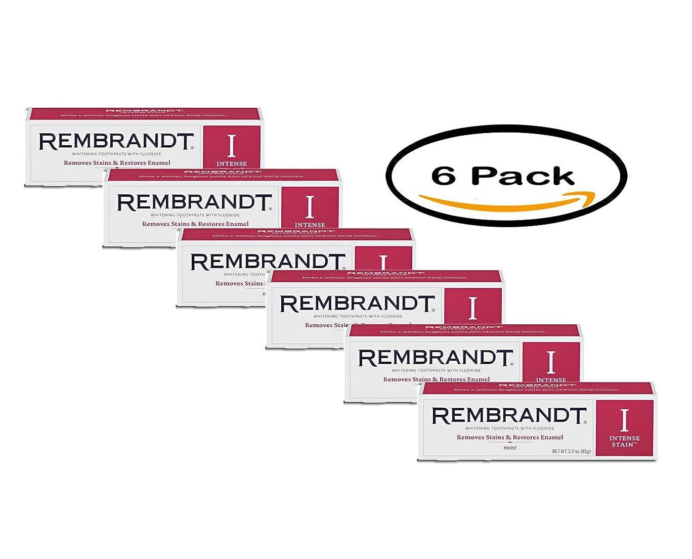 調整可能昆虫電話をかける海外直送品 レンブラントインテンスステイン Rembrandt Intense Stain Whitening Toothpaste, Mint, 3.5 oz Pack of 6
