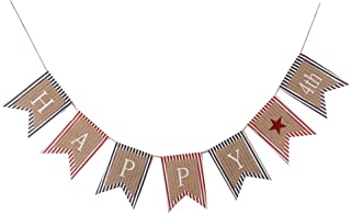 GOER Happy 4th of July Banner,No DIY Required Natural Burlap and Cotton Independence Day Decorations Fourth of July Party Supplies,Total Length 86.6 Inch