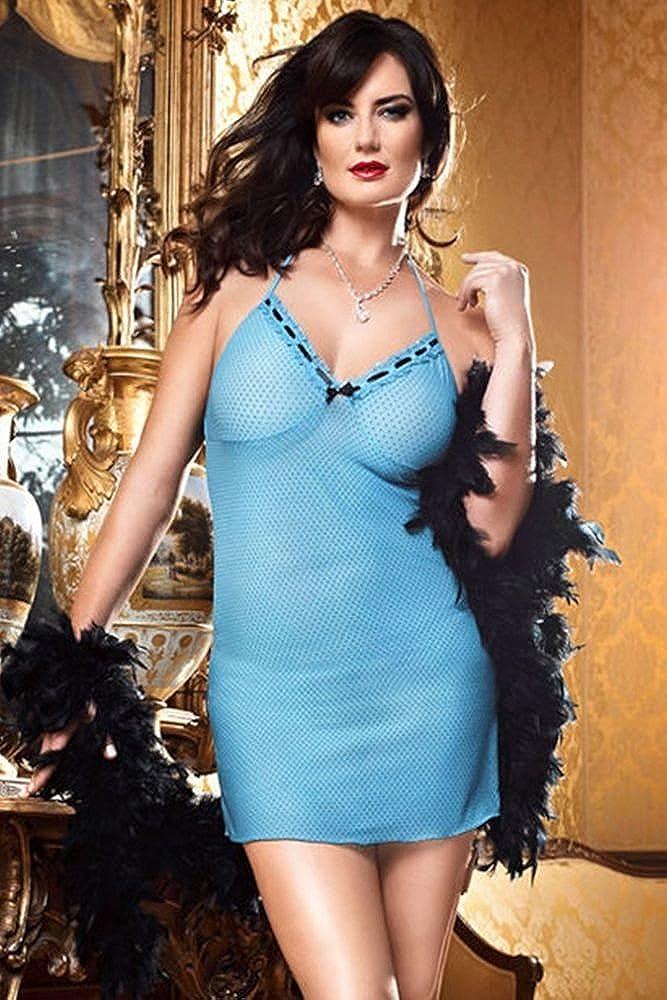 Baci Lingerie Women's Plus-Size Castle of Love Dot Lace and Mesh Dress