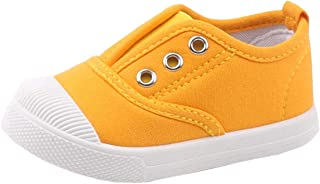 DADAWEN Boy`s Girl`s Candy Color Canvas Slip-On Lightweight Sneakers Cute Casual Running Shoes