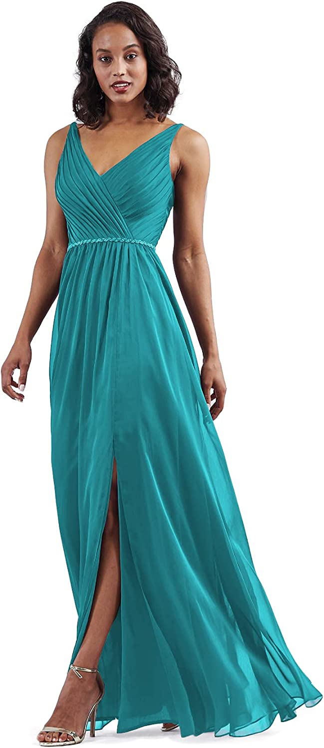 ChongXiao Women's V-Neck Chiffon Side Slit Bridesmaid Dresses Floor Length Pleated Belt Formal Gown 2021