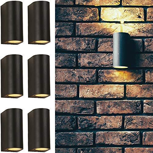 6 x Außen-Wand-Leuchte-Lampe LUGANO Garten-Leuchte-Lampe Ober- und Unterlicht Aluminum-Druckguss Balkon-Flur-Treppen-Terrassen-Gang-Garagen-Keller-Leuchte-Lampe