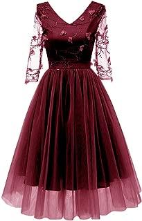 Innerternet Damen Kleider Kleid Festlich Damen,Innerternet Frauen Vintage Spitzen 3/4 Ärmel Abendkleider Cocktail Party 3D Floral Stickerei Kleid