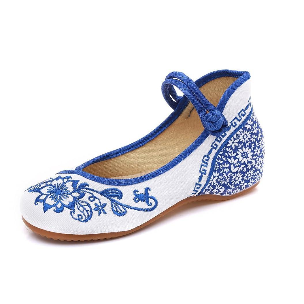 家具長いです成り立つ[Fanwer] 青と白の磁器Embroideried Shoesカジュアルキャンバスエスニックダンスシューズ女性のための快適で通気性の汗吸収
