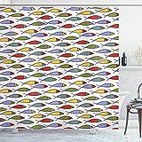 ABAKUHAUS Duschvorhang, Symmetrischer Fisch Design Moderne Kunst Thematisiert Bunt Minimalistischer Digital Druck, Blickdicht aus Stoff inkl. 12 Ringen Umweltfre&lich Waschbar, 175 X 200 cm