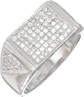 خاتم صلب من الفضة الإسترلينية عيار 925 مطلي بالروديوم مثلج بأحجار زركونيا دقيقة حقيقية + قطعة قماش تلميع إضافية
