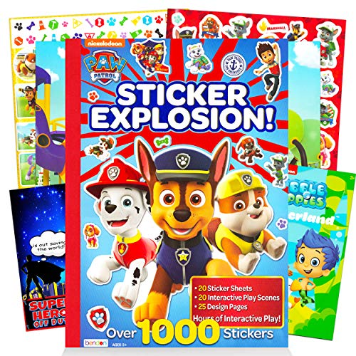 Paw Patrol Sticker Activity Book Bundle ~ Over 1000 Paw Patrol Stickers Featuring Chase, Marshall, Skye, and More with Bubble Guppies Stickers and Door Hanger (Paw Patrol Party Supplies)