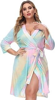 Hanna Nikole Women's Plus Size 3/4 Sleeve V-Neck Bathrobe Robe Nightgown