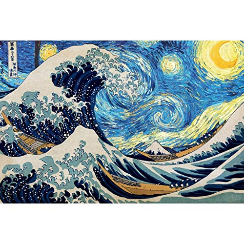 Puzzle 1000 Pieces Creative The Great Wave Starry Sky Puzzle Adults Wooden Jigsaw Puzzles Home Decor Collectiable Gifts 29.5x20in