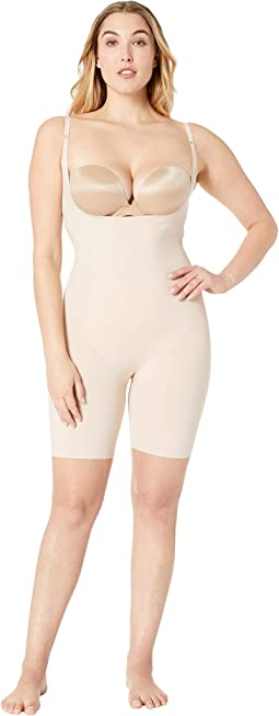 Plus Size Thinstincts Open-Bust Midthigh Bodysuit