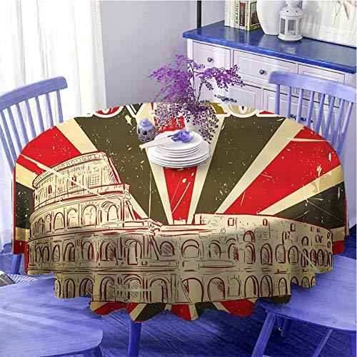 Mantel redondo con texto 'I Love Rome con carpa de circo y rayas negritas con protección de impresión antigua, diámetro de 109 cm, color rojo, verde oscuro y blanco