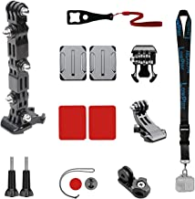 Lowpter Motorcycle Helmet Mount Kits for GoPro Hero 7Black/(2018)/6/5,4 Session,3+,DJI Osmo Action/YI Action Camera and More.