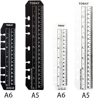 JKJF 4 Pcs Plastic Page Marker Snap-in Bookmark Ruler Binder Ruler for A5 A6 Size 6-Hole Notebook Filler - Clear and Black