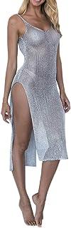 ballboU-Women Summer Sunscreen Sheer Mesh Bikini Cover Up, Backless High Slit Beach Sleeveless Dress