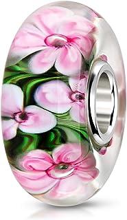 MATERIA Ciondolo in vetro di Murano a forma di fiore, rosa e verde – Argento 925, ciondolo in vetro per braccialetto Europ...