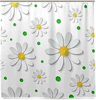 VAWA シャワーカーテン おしゃれ 防カビ 北欧 おしゃれ 花柄 菊花柄 3D 白い バスカーテン リング付属 フック 防水 風呂カーテン 間仕切り 取り付け簡単 180x180 cm