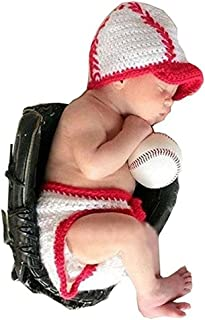 Baby Infant Photography Prop Costume Baseball Crochet Knitted Hat Diaper