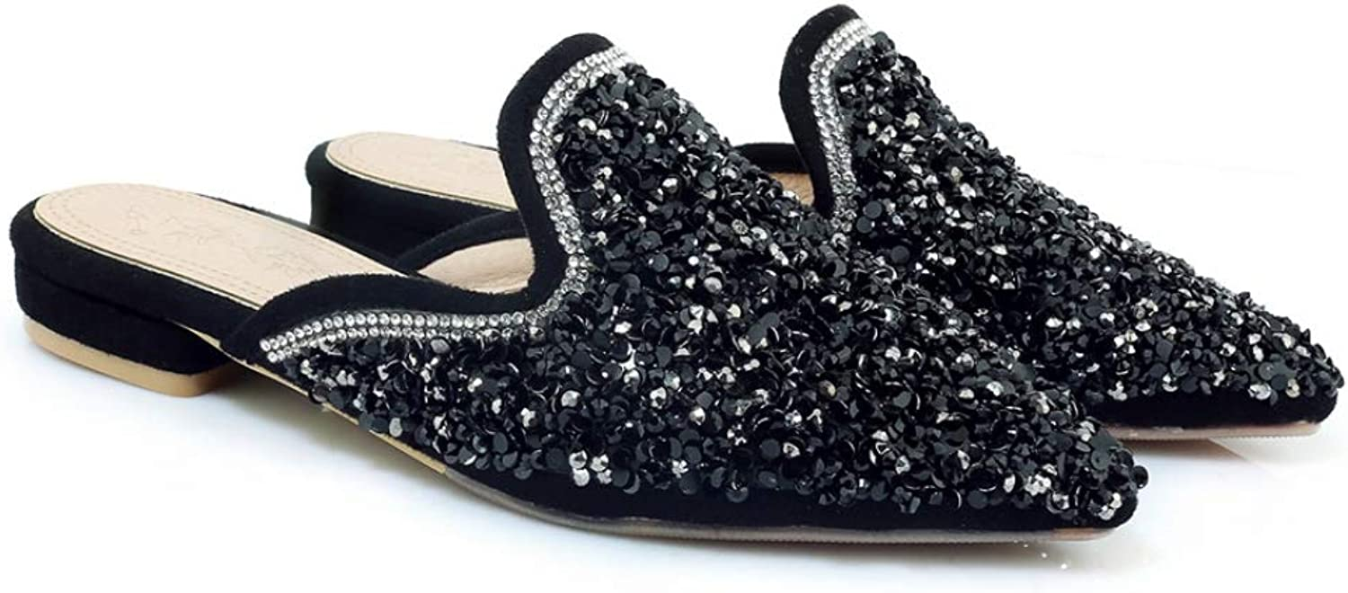 T-JULY Women's Sandal Sequins Pointed Toe Sexy Low Heel Thick Heel Slingback Summer Fashion Ladies Party Club shoes