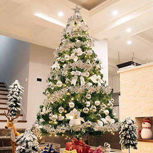NgFTG Luxury Christmas Tree Set,Hinged Artificial Christmas Pine Tree,PVC Christmas Decoration with Foldable Stand Easy Assembly