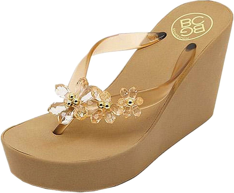 ANBOVER Womens Floral Gem Sandals Wedge Chunky High Platform Flip Flops