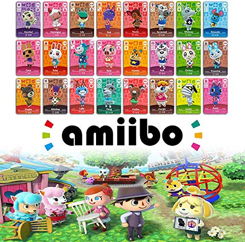 Amiibo Tarjetas para cruces de animales, ACNH NFC Tag Game Cards para New Horizons Mini RV Tarjetas con estuche de cristal para Nintendo Switch (24 tarjetas rectangulares de aldeanos)