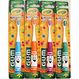 GUM Crayola Pip-Squeaks Kids Toothbrush – Ultrasoft (4 Pack – 1 of Each Character)